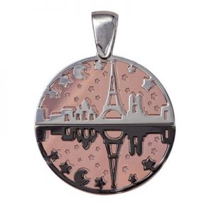 Sterling Silver and Sterling Silver Pink Hard Gold Plate with Black Rhodium Plating 25mm
