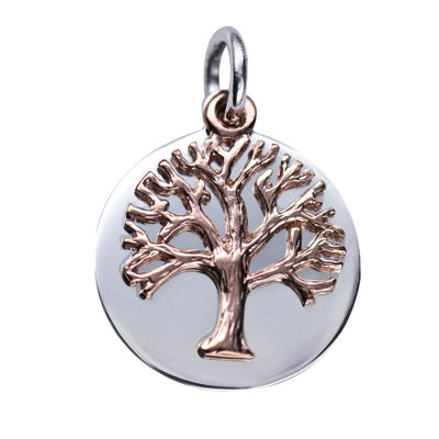Sterling Silver Disc with 9ct Pink Gold Tree of Life 21mm Disc