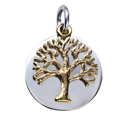 P3760_SY - S/S 21mm Disc with 9Y Floating 'Tree of Life' Pendant