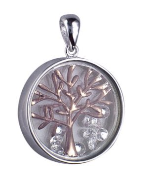 P898CZ - Sterling Silver 17mm Glass Enclosed PHGP Tree of Life with Floating Czs