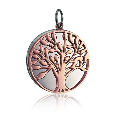 STP608P - Stainless Steel / Pink IP 30mm Double Disc 'Tree of Life' Pendant