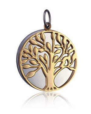 STP608Y - Stainless Steel / Gold IP 30mm Double Disc 'Tree of Life' Pendant