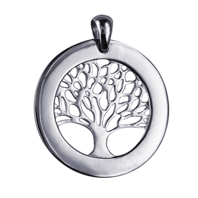 Sterling Silver - P856 - 25mm Tree of Life Circular Engraving Disc Pendant