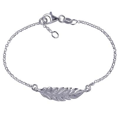 Sterling Silver Italian Leaf Bracelet