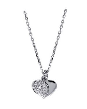 IN4213/42 - S/S Italian Child's White Cz Heart Necklet