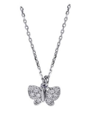 IN421442 - SS Italian Child's White Cz Butterfly Necklet