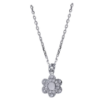 IN421742 - SS Italian Child's White Cz Flower Necklet