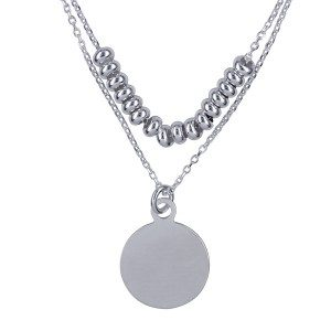 Sterling Silver Italian Fancy Double Strand Necklet
