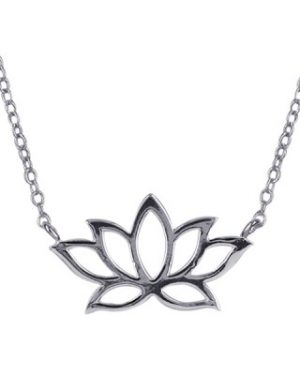 N414E45 - S/S Lotus Flower Necklet with 45cm Chain + 5cm Extender