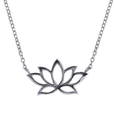 N414E45 - S/S Lotus Flower Necklet with 45cm Chain + 5cm Extender