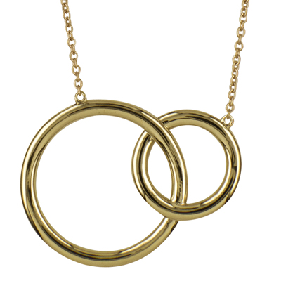 9Y Plain Fixed Interlocking Circles Necklet